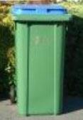 wheelie bin with blue lid