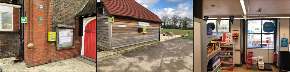 Images of defibrillator locations in the village