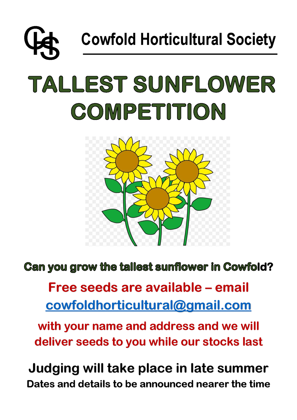 Tallest Sunflower Competition Poster